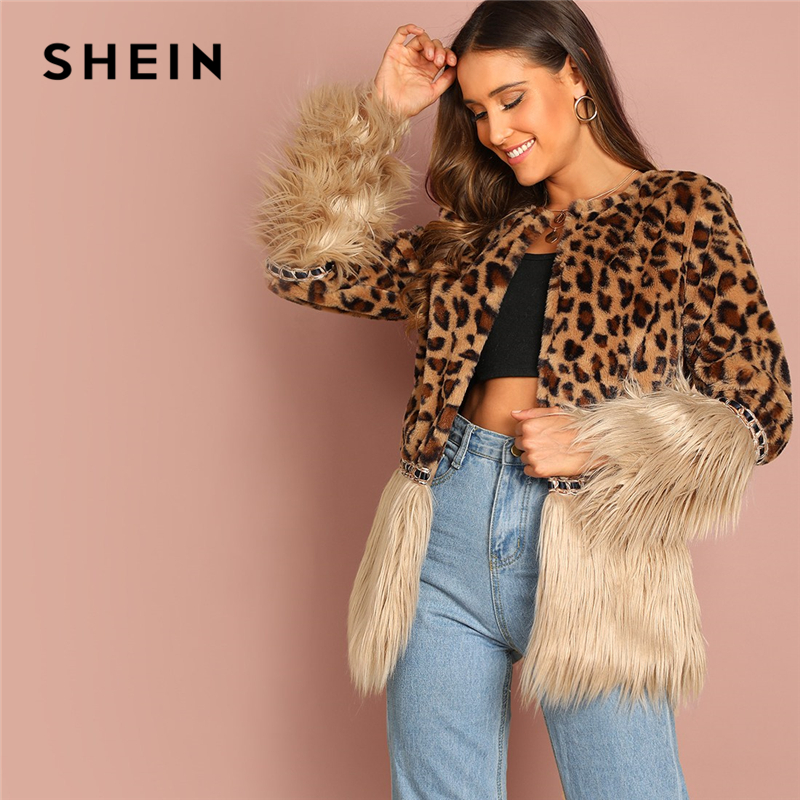 SHEIN Casual Multicolor Modern Lady Contrast Faux Fur Leopard Long Sleeve Coat 2018 Autumn Women Highstreet Party Outerwear