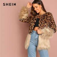SHEIN Casual Multicolor Moderne Dame Kontrast Faux Pelz Leopard Langarm Mantel 2018 Herbst Frauen Highstreet Party Oberbekleidung
