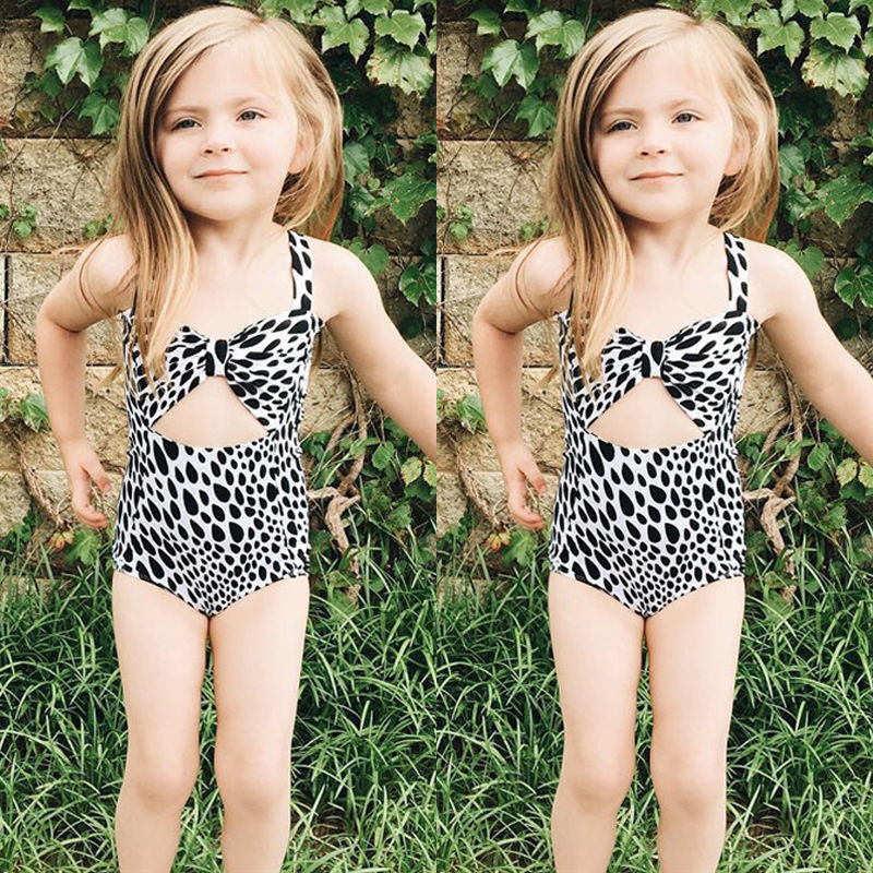 2017 Kids Baby Girls Bikini White and Black Beachwear Bathing Suit Swimwear Swimsuit One-pieces