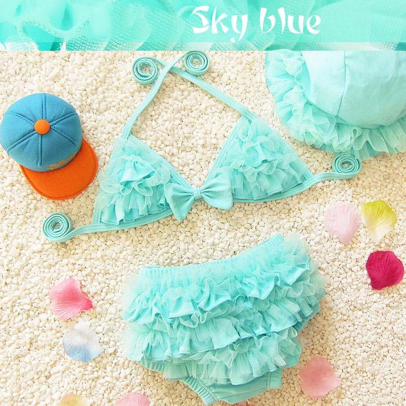 Cute Girls Children Bikinis Set Swimwear Swimsuit Baby Two Pieces Beach Wear with Cap B2Cshop