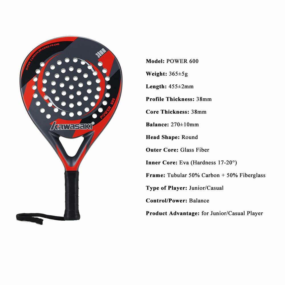 Kawasaki POWER 600 Padel Racquet 38mm Tennis Padell Racket for Junior Player Carbon Fiber Frame Soft EVA Face with Paddle Bag