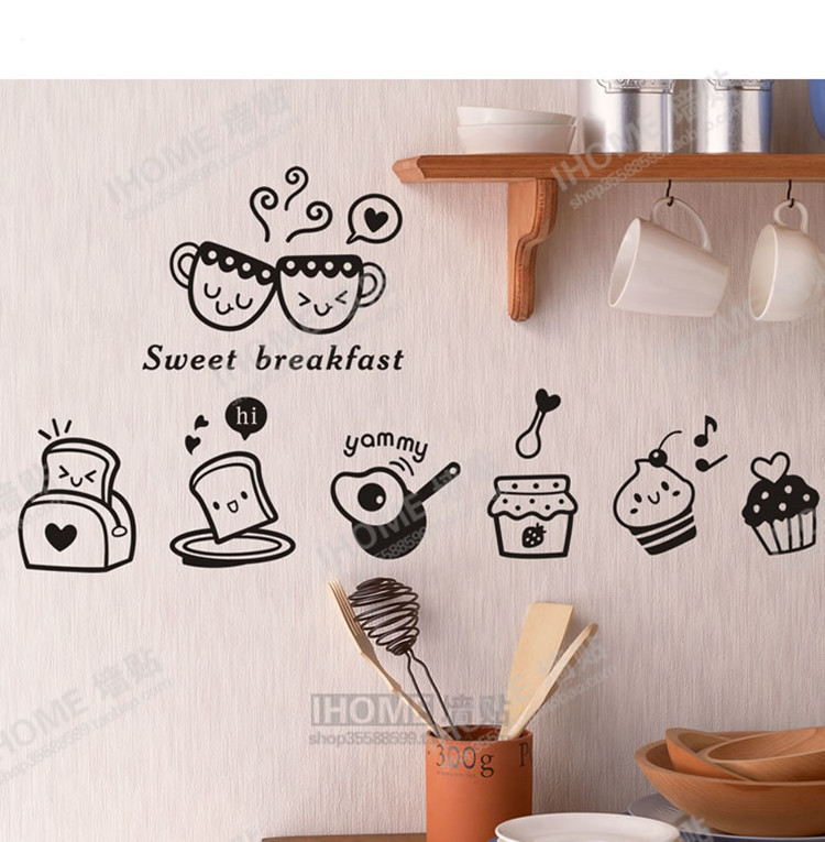 Buy sweet breakfast kitchen wall - Vinilos para azulejos ...