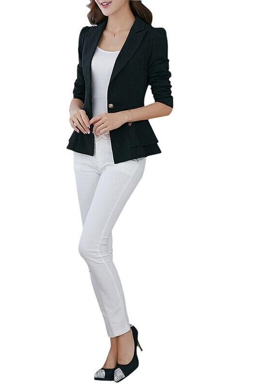 4be1497697ecc MYPF Mode Veste Blazer Femme Combinaison Pliable Manteau À Manches Longues  Revers De Couleur de Sucrerie Blazer Seul Bouton Blazers Vestes