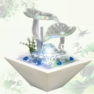 Lucky feng shui fish tank water fountain new house living - Fish tank living room table ...