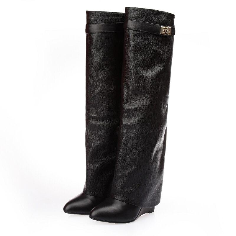 New stylish Winter knee high boots Women wedge heel shark lock Strap fold point toe ladies