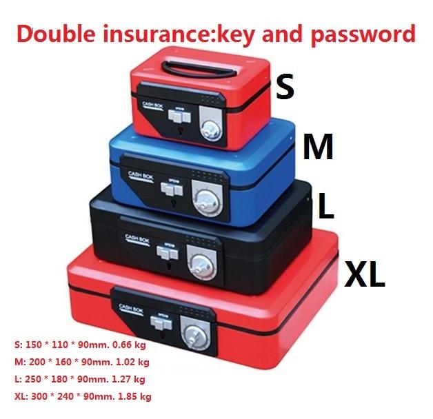 Double serrure caisse boîte clé et mot de passe ouvert économie d'argent boîtes bin fusible changement petit fer sécurité coffres-forts