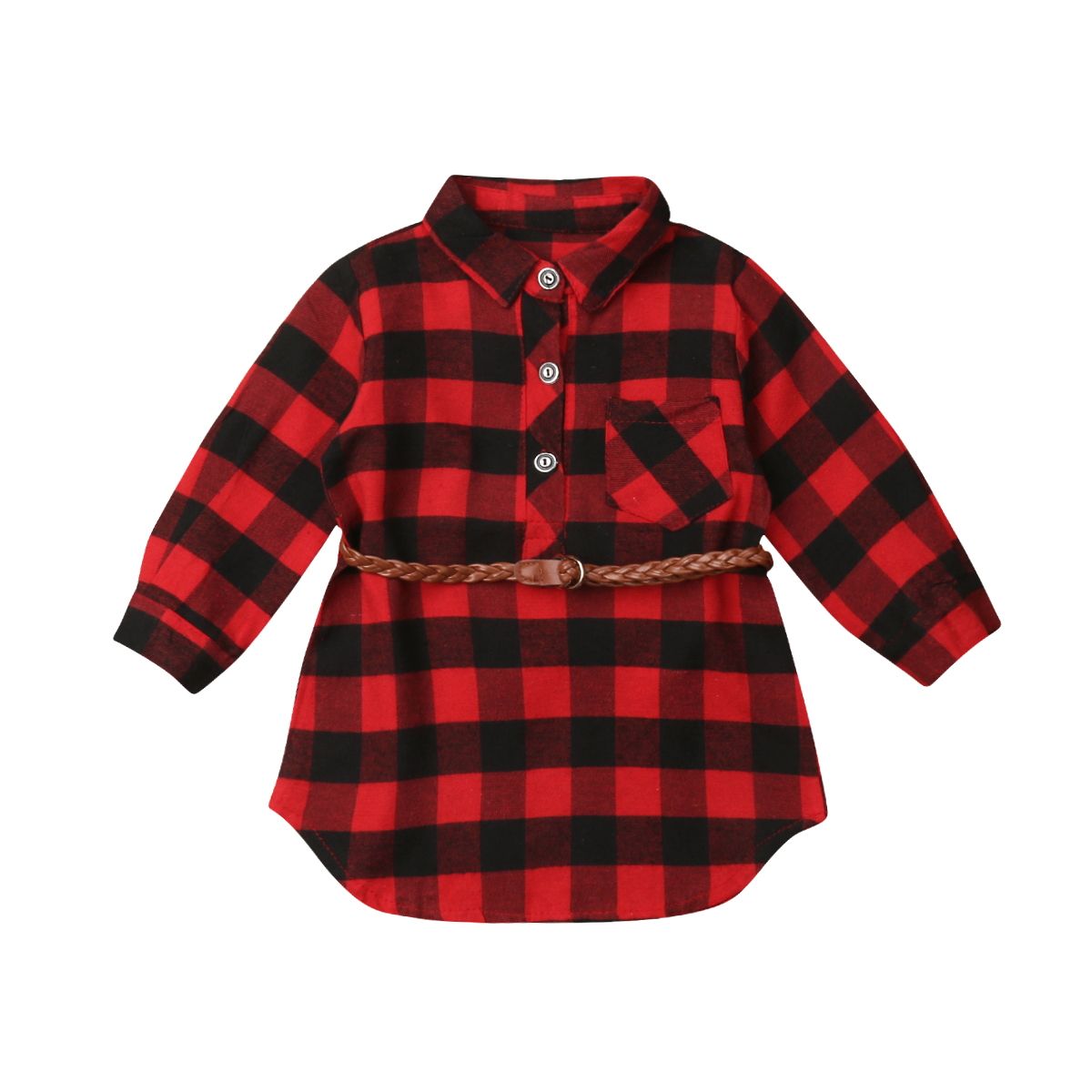 Hot 0-5T <font><b>Christmas</b></font> Costume Toddler Newborn <font><b>Dress</b></font> Kids Baby <font><b>Girls</b></font> <font><b>Red</b></font> Plaid <font><b>Long</b></font> <font><b>Sleeve</b></font> Belt Princess Party Cotton <font><b>Dress</b></font> Clothes image