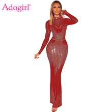 Adogirl Sparkle Diamonds Sheer Mesh Maxi Party Dress Women Sexy Mock Neck Long Sleeve Bodycon Evening Gown Club Vestidos