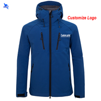 Custom Logo Waterproof Softshell Jacket Men Windstopper Fleece Warm Hooded Hiking Coat Outdoor Camping Fishing Skiing Hoodies