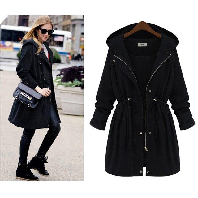 Uwback 2017 Spring Brand Trench Coat Women Adjustable Waist Hooded Cloak Femme Long Windbreaker Coat Mujer Plus Size 4XL OB307