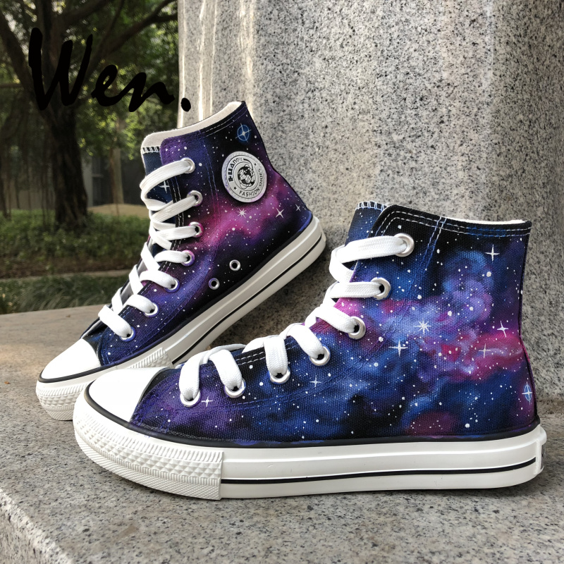 Wen Original Hand Painted Shoes Design Custom Purple Galaxy Nebula High Top  Canvas Sneakers Christmas Gifts for Boys Girls bf43174131cd