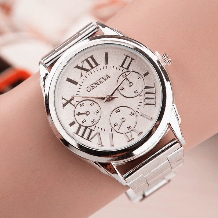New Brand 3 Eyes Silver Geneva Casual Quartz Watch Women Stainless Steel Dress Watches Relogio Feminino Ladies Clock Hot Sale