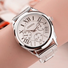 New Brand 3 Eyes Silver Geneva Casual Quartz Watch Women Stainless Steel Dress