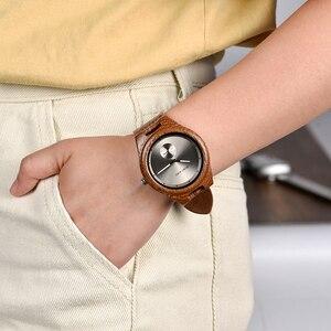 Image 3 - BOBO BIRD drewniane zegarki mężczyźni kobiety zegarki luksusowy skórzany pasek kwarcowy zegarek W drewnianym pudełku relogio masculino W * Q24