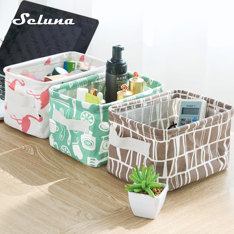 Seluna Desktop Storage Basket Cute Printing Waterproof Organizer Cotton Linen Sundries Storage Box Cabinet Underwear Storage Bag(China)
