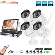 Wireless Surveillance System Network 10.1 LCD Monitor NVR Recorder Wifi Kit 4CH 960P HD Video Inputs Security Camera wireless surveillance cameras integrated machine vision hd network camera 960p wireless monitor wifi