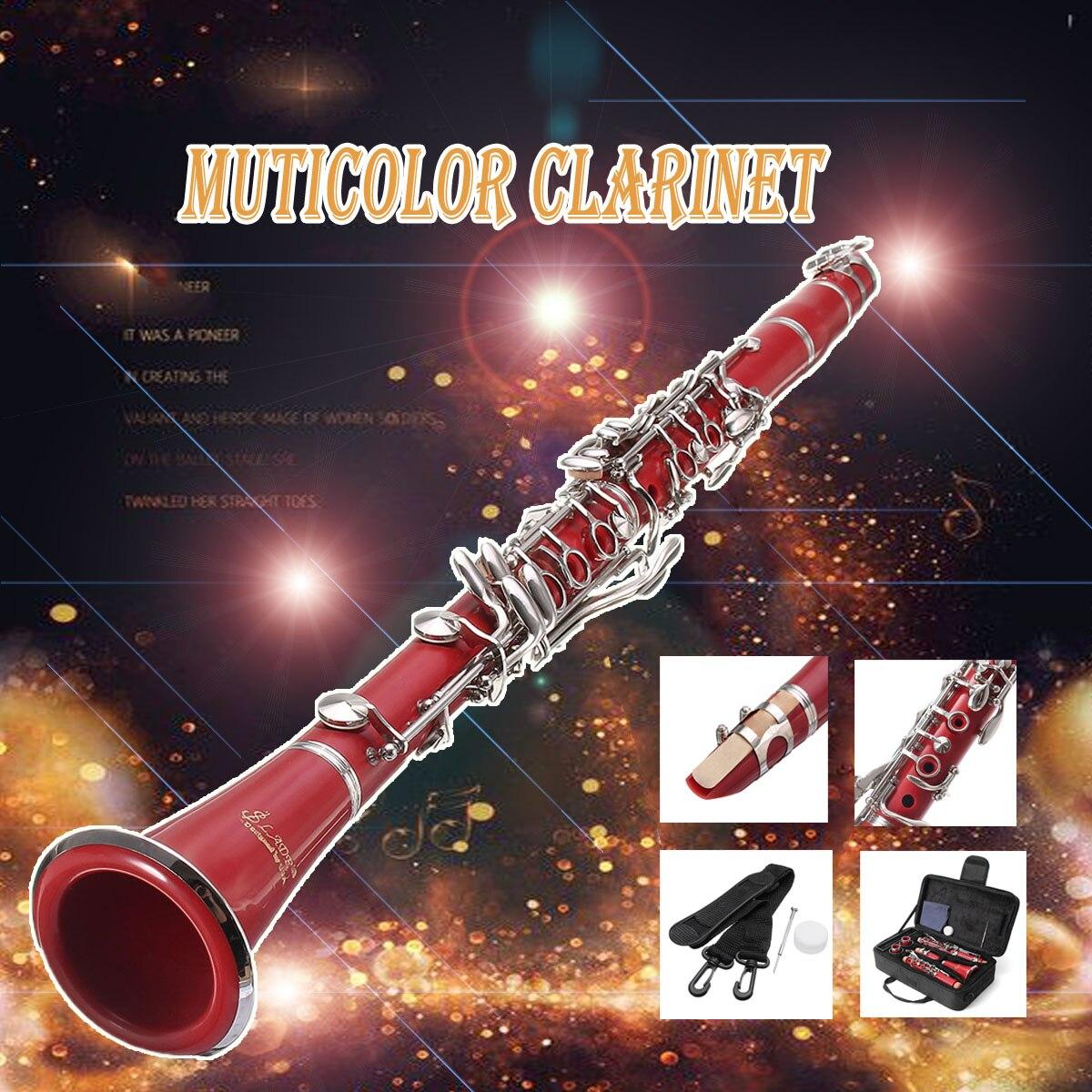 1 set 17 Clé Nickel Plaqué Muticolor Clarinette avec porte-Parole Roseau Case Box Cover Pour Instruments de Musique À Vent Amant Débutant
