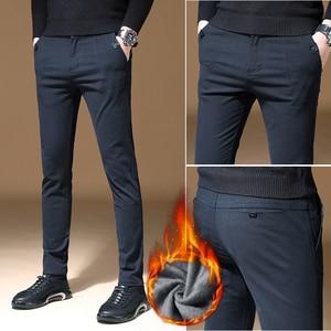 Image 3 - 2020 Mens Winter Fleece warm Pants men Korean Casual Slacks Slim Warm thick Pants for men fashion Black gray Trousers male