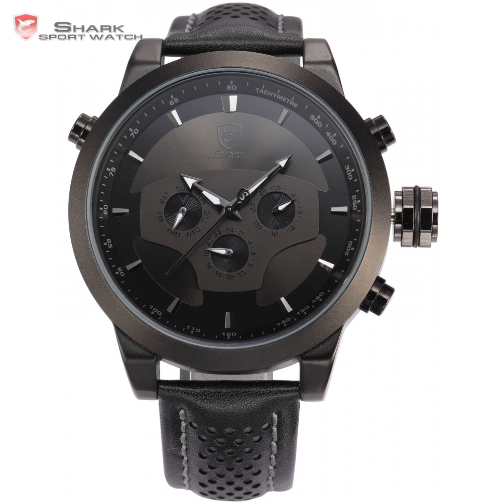 Requiem Shark Sport Watch 6 Hands Calendar Dual Time Zone Black Dashboard Leather Band 3ATM Waterproof