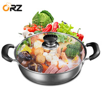 ORZ 304 Stainless Steel Induction Hot Pot Chinese Cooker Cooking Kitchen Soup Pot Cooktop Shabu Cookware