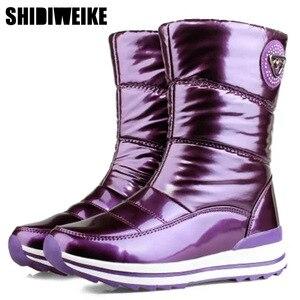 Image 1 - Высококачественные женские ботинки; Новое поступление 2020 года; Водонепроницаемая зимняя обувь на толстом меху; Нескользящие женские зимние ботинки на платформе; 40; n541