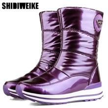 Haute qualité femmes bottes 2020 nouveautés imperméable à leau épaisse fourrure hiver chaussures antidérapantes femmes plate forme bottes de neige 40 n541