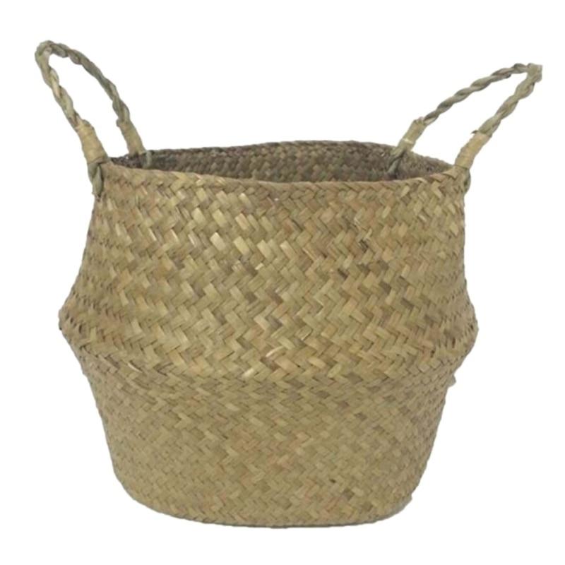 Home Garden Seagrass Wickerwork Basket Rattan Foldable Hengende - Hageforsyninger - Bilde 3