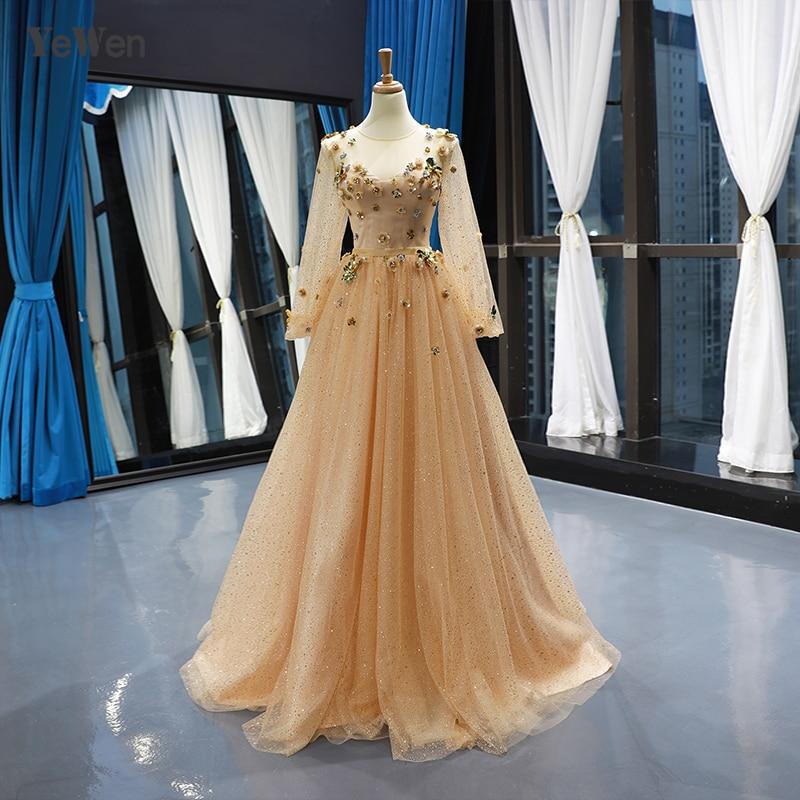 elegant 2019 new Wedding Dress tulle long sleeve Round collar Printing Wedding Dresses formal Plus size Vestido De Noiva YM20224