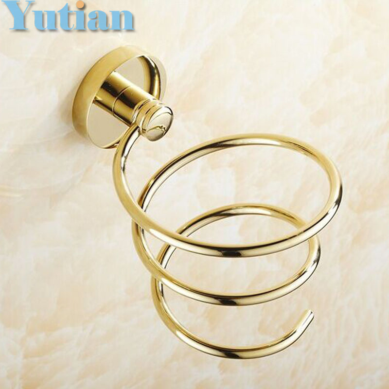 Free shipping 1pc Solid & Anti-rust brass gold color Hair dryer holder Hair dryer rack stand rack shelf YT-8204 new 5pcs 5 color plastic mic microphone anti rolling protection ring wireless slip holder stand roller accessories free shipping