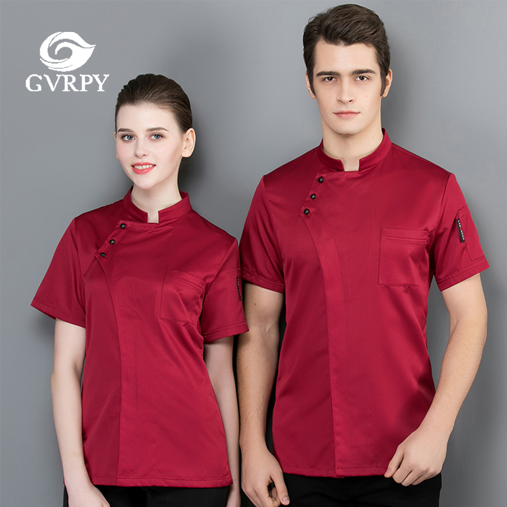 High Quality Solid Color Short Sleeve Chef Uniform Summer Breathable Kitchen Work Shirt Hotel Restaurant Work Jacket Unisex