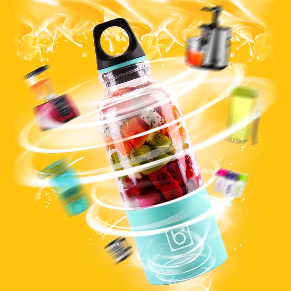 500ml Portable Blender Juicer Cup USB Rechargeable Electric Vegetable Fruit Citrus Orange Juice Maker Cup Mixer Bottle L66 in Squeezers Reamers from Home Garden
