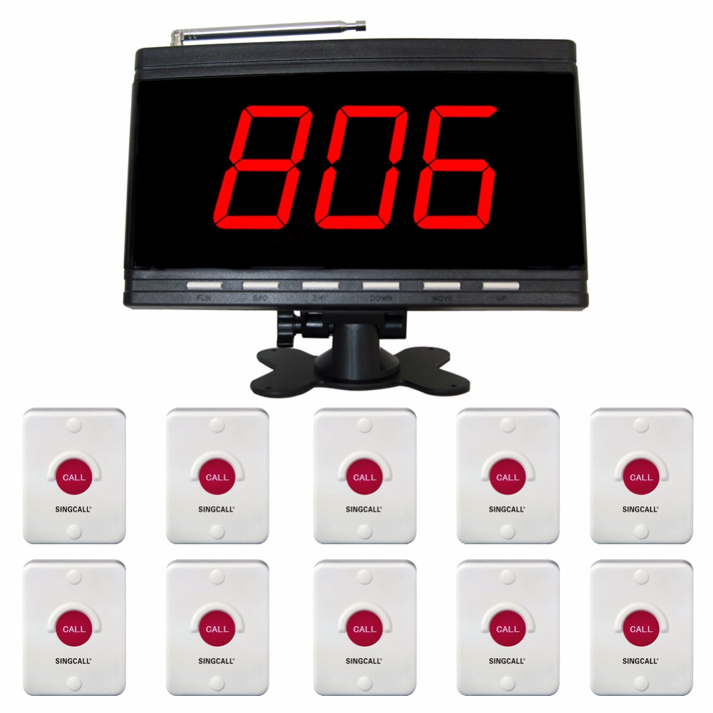 Conference calling system bell nurse call aid call pack of 10 pcs of pagers and 1 pc display receiver