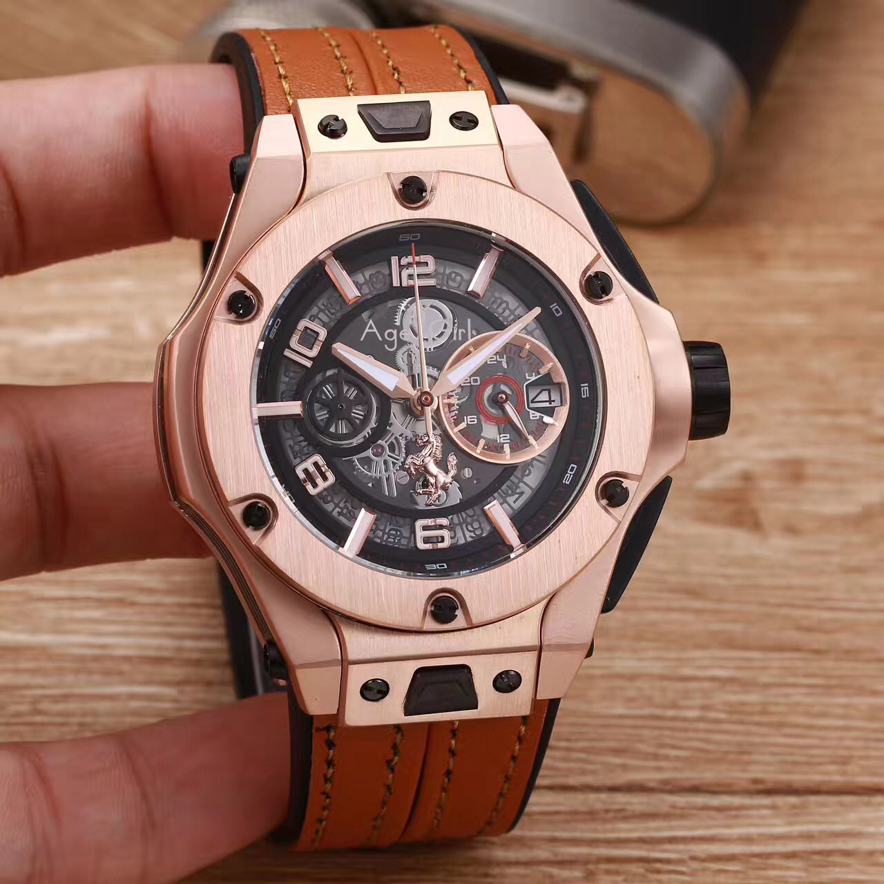 Luxury Brand New Men Rose Gold Brown Red Black Leather Automatic Mechanical Sapphire Date Watches Glass Back Waterproof AAA+Luxury Brand New Men Rose Gold Brown Red Black Leather Automatic Mechanical Sapphire Date Watches Glass Back Waterproof AAA+
