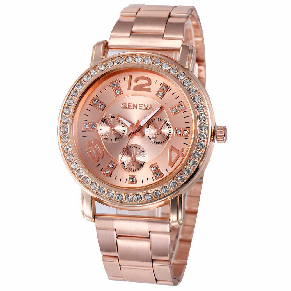 GEMIXI Women Watches Stainless Steel Band Back Cover Sport Quartz Hour Wrist Analog Watch Rose Gold dropship