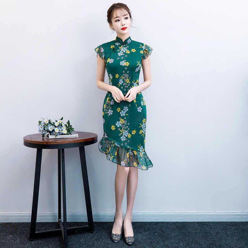 Green Summer Chiffon Print Cheongsam Elegant Women' s Handmade Button Dress Short Sleeve Knee Length Sexy Short Dress S-XXL
