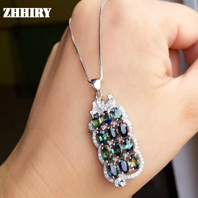 Necklace Natural Sapphire Gem Pendant Solid 925 Sterling Silver Deep Blue Stone Lady's Fine Jewelry