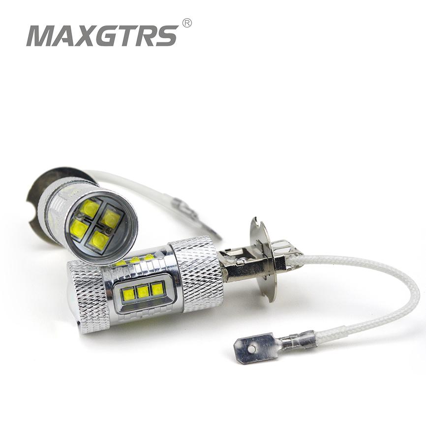 Prix pour 2x H3 80 W CREE Puce LED Blanc/Rouge/Ambre Voiture Auto Phare Brouillard lumières DRL Feux de jour Lampe Ampoule 6000 K DC 12 V-24 V Car Styling
