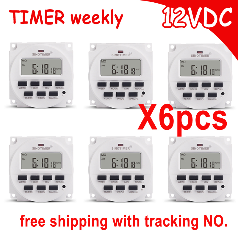 цена на SINOTIMER wholesale 7 Days Programmable 12V DC Digital Timer Switch Control Time relay Free Shipping