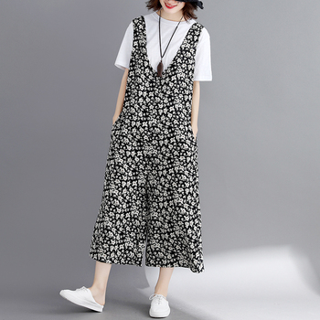2019 New Floral Print Spaghetti Strap Spring Summer Cotton Linen Jumpsuit For Women Vintage Wide Leg Overalls