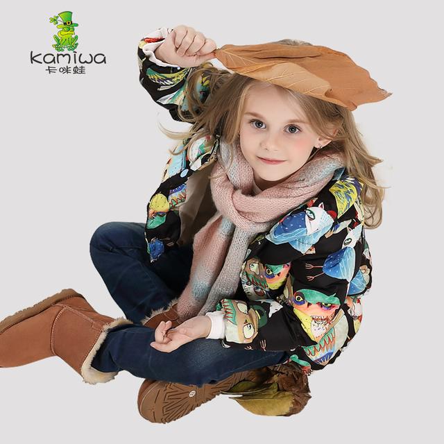 KAMIWA 2016 Coruja Impressão Meninas Casacos de Inverno E Jaquetas Crianças Outwear Roupas Infantis Meninas Do Bebê Quente Roupas Acolchoadas Para Baixo Parka