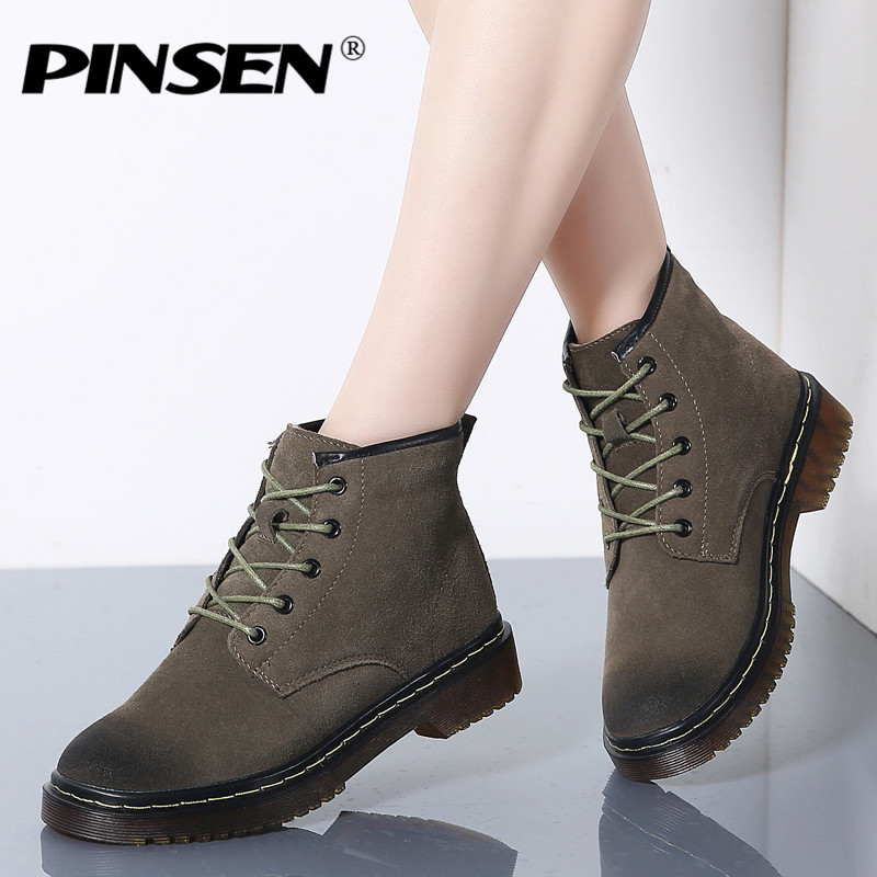 En Daim Haute autumn Femmes autumn Peluche winter Pinsen Classique Green Brown 2019 Autumn Neige winter Bottes Dentelle Brown Qualité Moto Cheville Black Hiver winter Black up Cuir Chaud Army Green IY118wqd