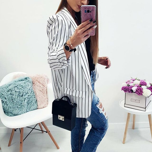 Female Blazer Black White Striped Sexy Casual Suit Long Sleeve Women Jacket Blazer Autumn