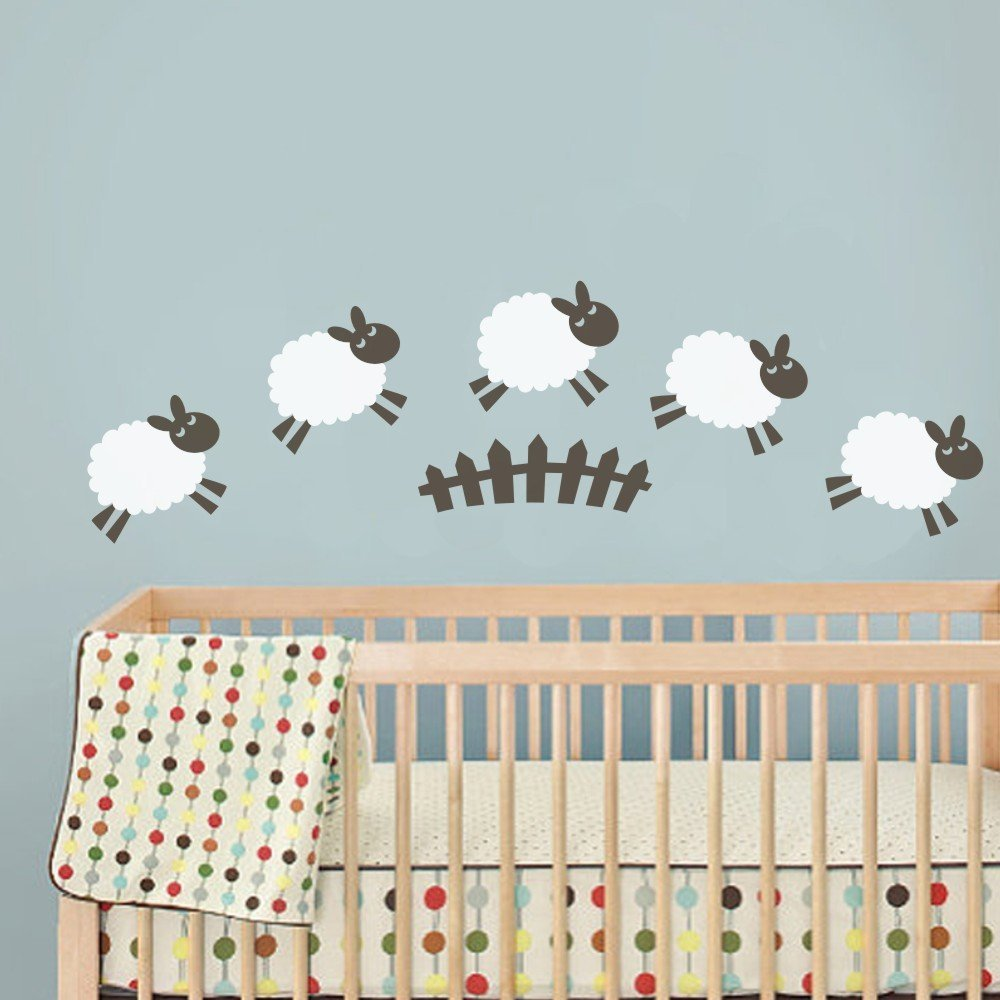 c209 sheep wall decal baby room wall sticker nursery play room cute animals wall mural home art. Black Bedroom Furniture Sets. Home Design Ideas