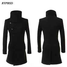 Casaco de lã masculino casacos de lã outono masculino casacos de lã manteau homme meio longo jaquetas casacos masculino lã quente tamanho 2xl