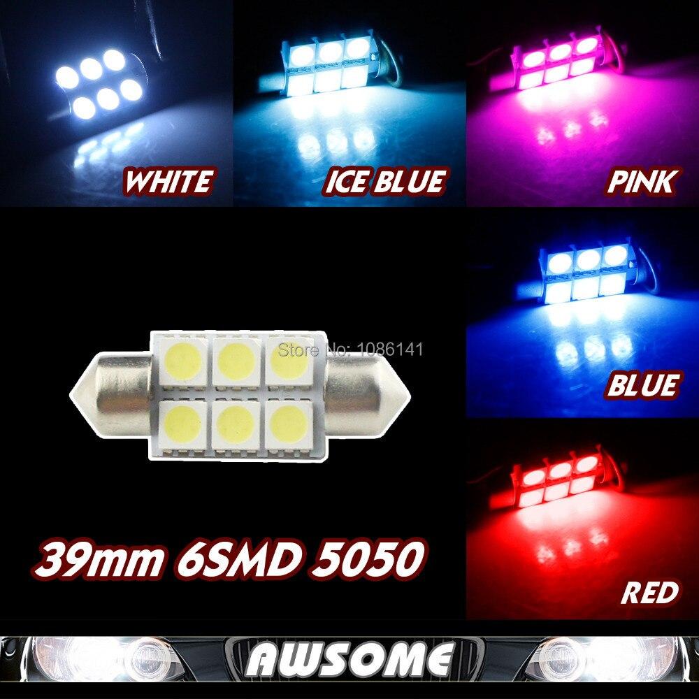 10x39mm 5050 12 V Dc Memperhiasi Dipimpin Mobil Interior Dome Peta Cnc Led 5mm Super Bright White Putih Clear Cermin Truk Lampu Kotak Sarung Tangan Cahaya Hangat Biru Merah Pink Colorful