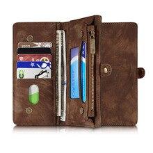 Для iPhone 7 плюс натуральная кожа случае телефон случаях Обложка для Apple iPhone 7 Plus Многофункциональный молнии бумажник телефон сумка