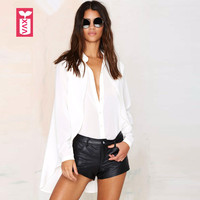 Drop Ship Very Beautiful 2017 Womens Single Breasted Formal Dovetail White Blouse Shirts Back Open Split