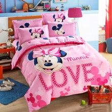 Прекрасный розовый взрослый/Минни Постельное белье девушки пододеяльник простыня мультфильм шаблон полный queen Twin постельное белье 1.2m.1.5m кровать