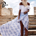 Daylook 2016 Summer Skirts High Waist White Boho Print Wrap Front Split Maxi Skirt  Elegant Vintage Long Skirt Saia Femnininas