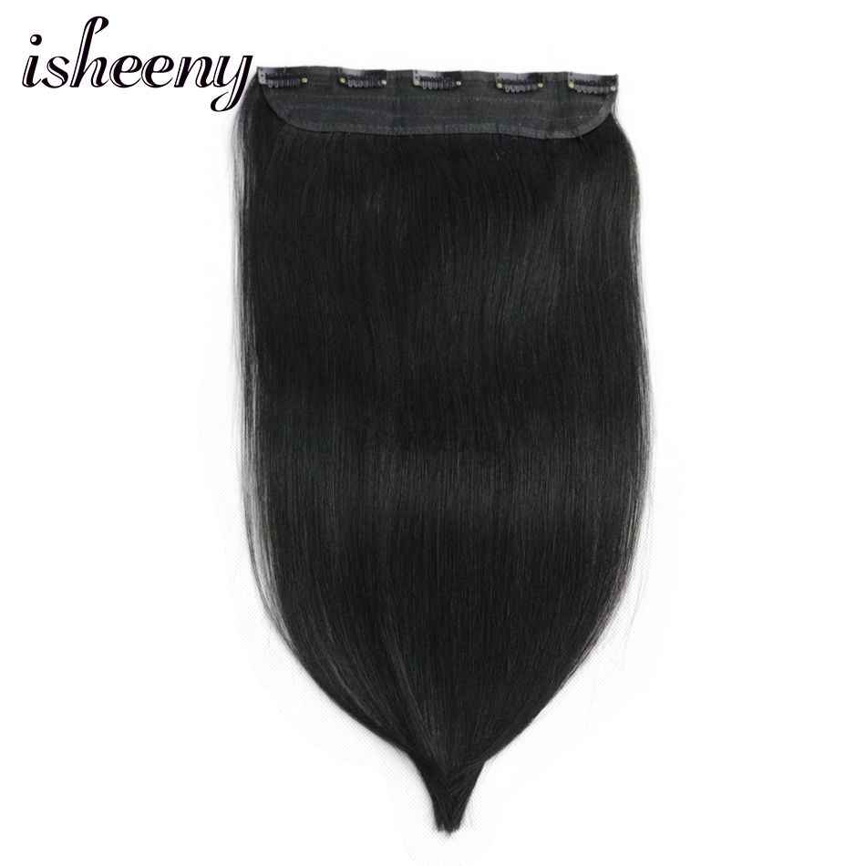 "80g 90g 100g Remy Hair One piece Set 5 Clip-in 100% Human Hair Extensions Natural Straight Hair 14"" 18"" 22"""